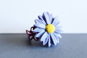 Resin Flower Adjustable Ring