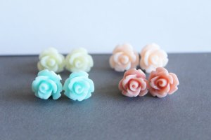 Set of Four Resin Flower Earrings